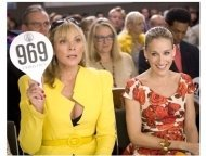 "Kim Cattrall as ""Samantha Jones"" and Sarah Jessica Parker as ""Carrie Bradshaw"" in ""Sex and The City: The Movie"""