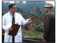 The Quiet American movie still: Brendan Fraser as Alden Pyle and Michael Caine as Thomas Fowler in The Quiet American