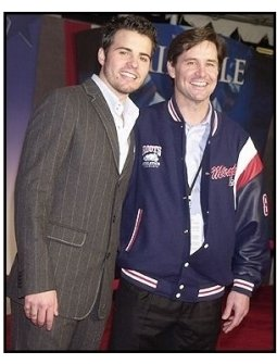 """Nathan West and 1980 US Gold Medal Olympic hockey team member Rob McClanahan at the """"Miracle"""" premiere"""