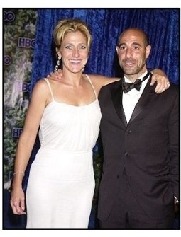 Edie Falco and Stanley Tucci at the HBO party following the 55th Annual Primetime Emmy Awards