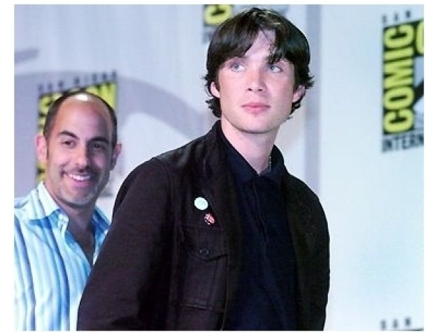 Comic-Con 2004 still: David Goyer and Cillian Murphy