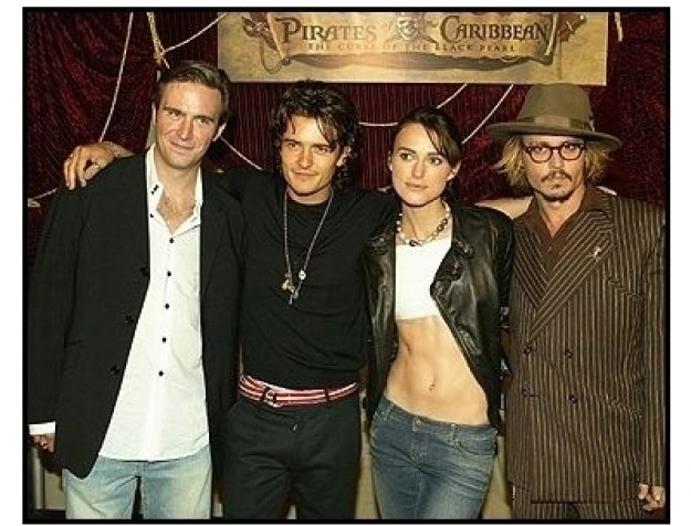 """ONE TIME USE ONLY: Verbinski, Davenport, Bloom, Knightley, Depp & Bruckheimer at the """"Pirates of the Caribbean: The Curse of the Black Pearl"""" World Premiere"""