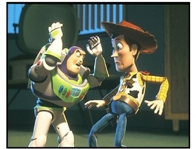 """Toy Story 2"" Movie Still: Buzz Lightyear and Woody"