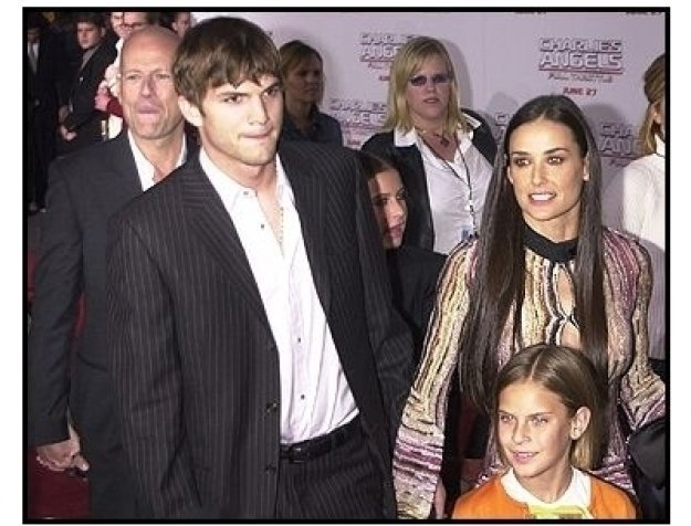 "Bruce Willis, Ashton Kutcher, and Demi Moore and daughters at the ""Charlie's Angels: Full Throttle"" premiere"