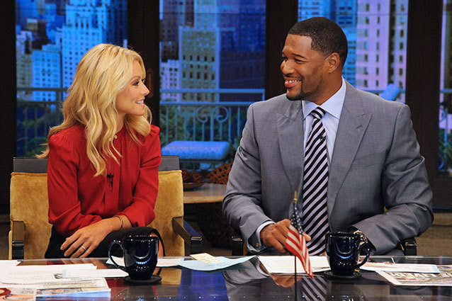 Kelly Ripa and Michael Strahan on 'Live! With Kelly & Michael'