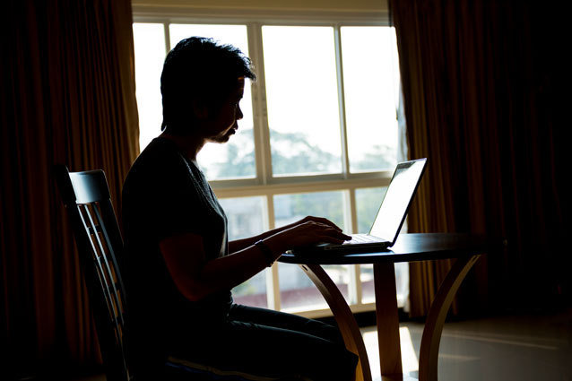 A person at a computer