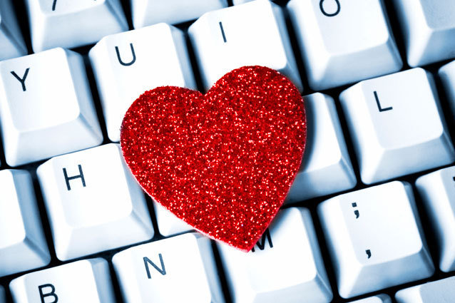 a glittery heart on a laptop