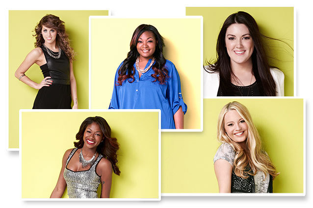 American Idol Season 12 Top 5 girls include Angie Miller, Candice Glover, Amber Holcomb, Kree Harrison and Jenelle Arthur