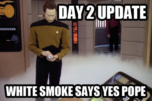 Mr. Data Analyzes the White Smoke in the Enterprise Bridge to Determine the Identity of the New Pope