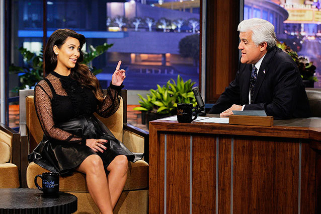 Jay Leno's Guest Last Night http://www.hollywood.com/news/tv/55005986/kim-kardashian-jay-leno-new-tonight-show-host?page=all