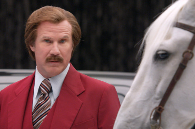 Ron Burgundy (Will Ferrell) has a staring contest with a horse.