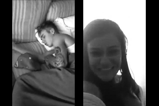 Justin Bieber filmed sleeping by Brazilian Girl