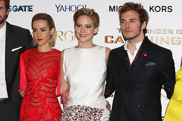 Jennifer Lawrence, Sam Claflin and Jena Malone
