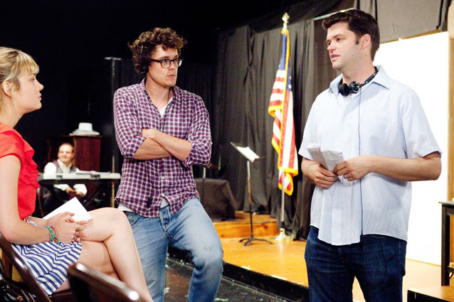 21 JUMP STREET, from left: Brie Larson, director Phil Lord, director Chris Miller on set, 2012, Ph: Scott Garfield, ? Columbia/courtesy Everett Collection