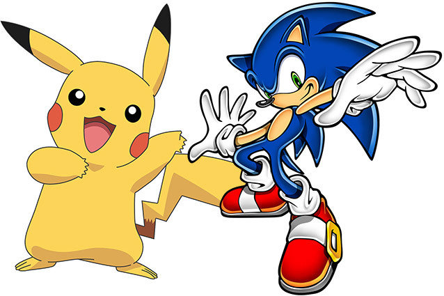 Pikachu and Sonic the Hedgehog