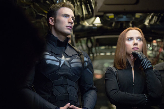 Captain America: The Winter Soldier, Chris Evans and Scarlett Johansson