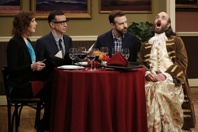 Jennamin Franklin, Will Forte and Jason Sudeikis on Late Night with Seth Meyers