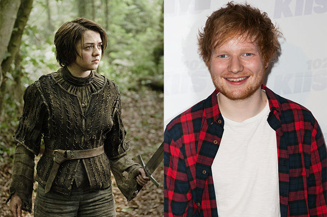 Maisie Williams and Ed Sheeran