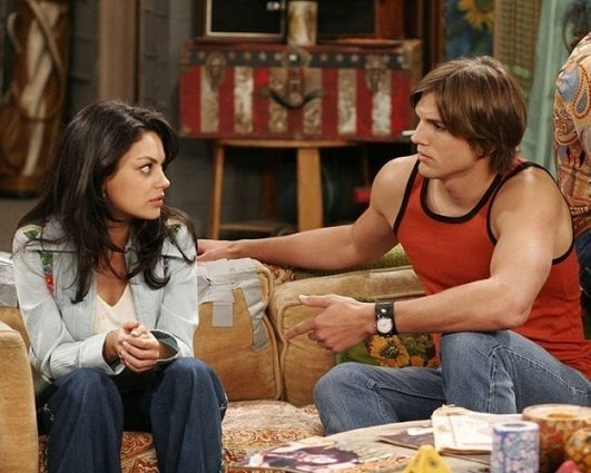 When Ashton Kutcher and Mila Kunis worked on 'That 70s Show' together from 1998-2006. During that time, Kutcher married actress Demi Moore. Kutcher and Moore split in 2011, and in 2012 rumors began circulating that Kutcher and Kunis were an item, nearly six years after they stopped working together.