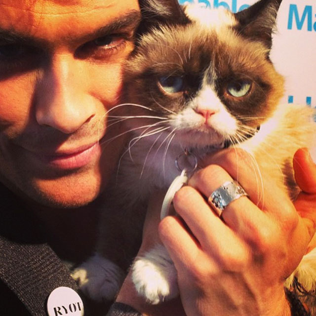 Ian Somerhalder Hugs Grumpy Cat