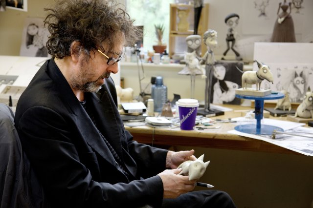 Tim Burton on Frankenweenie Set