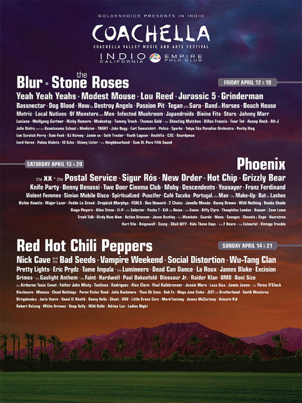 Coachella Lineup 2013 full list