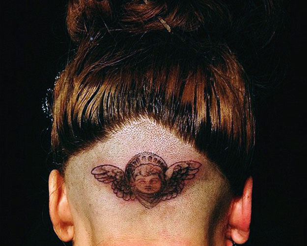 Lady Gaga cherub tattoo
