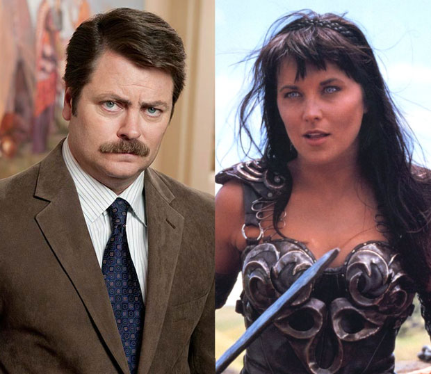 Ron Swanson and Xena Warrior Princess