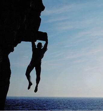 cliff hanging