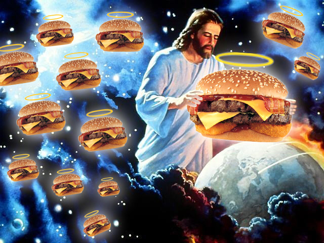 Jesus with a cheeseburger