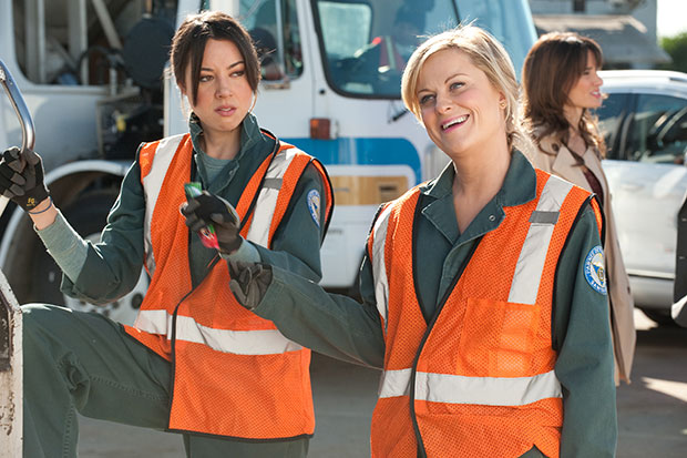 parks and recreation women in garbage