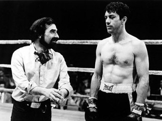 Scorsese and De Niro on the set of Raging Bull