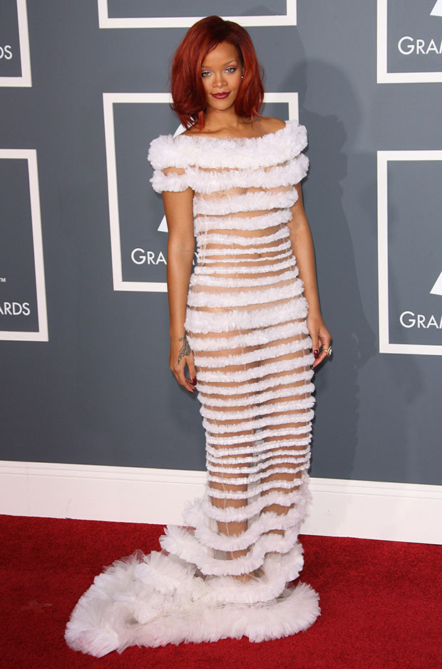 Rihanna sheer Grammys Dress 2011