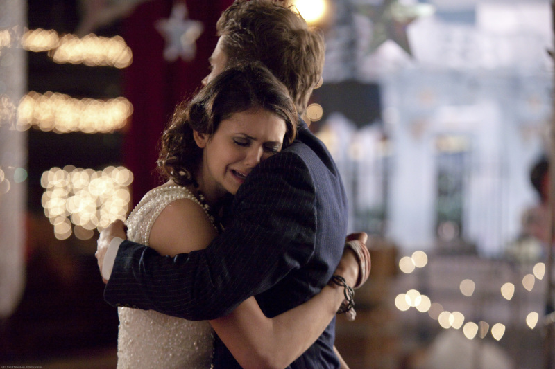 Stefan and crying Elena
